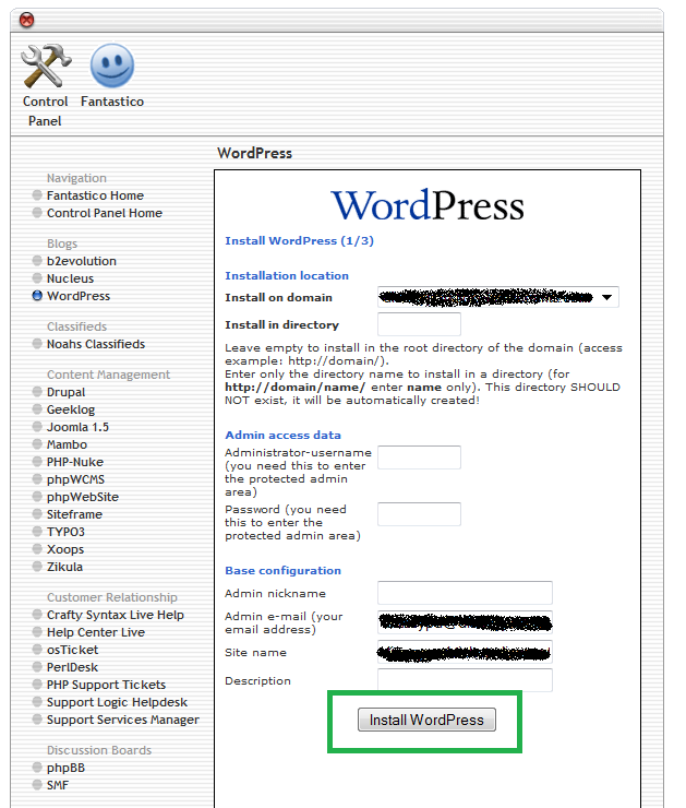 Installing WordPress on Fantastico / cPanel - Basic Details Needed