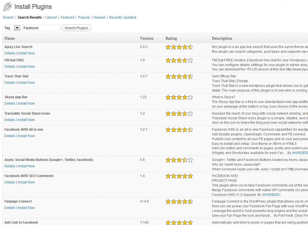 Installing a WordPress Plugin - Search Results