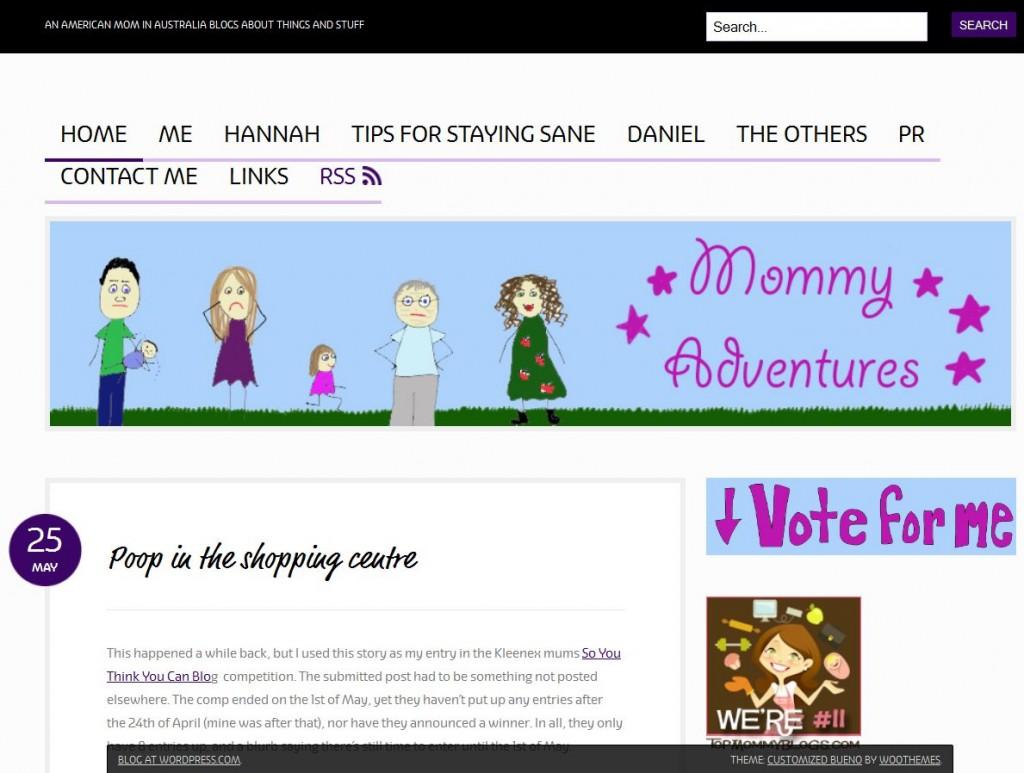 Screenshot of MommyAdventures.net
