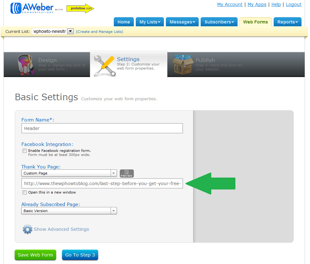 Setting Custom Thank You Page in Aweber